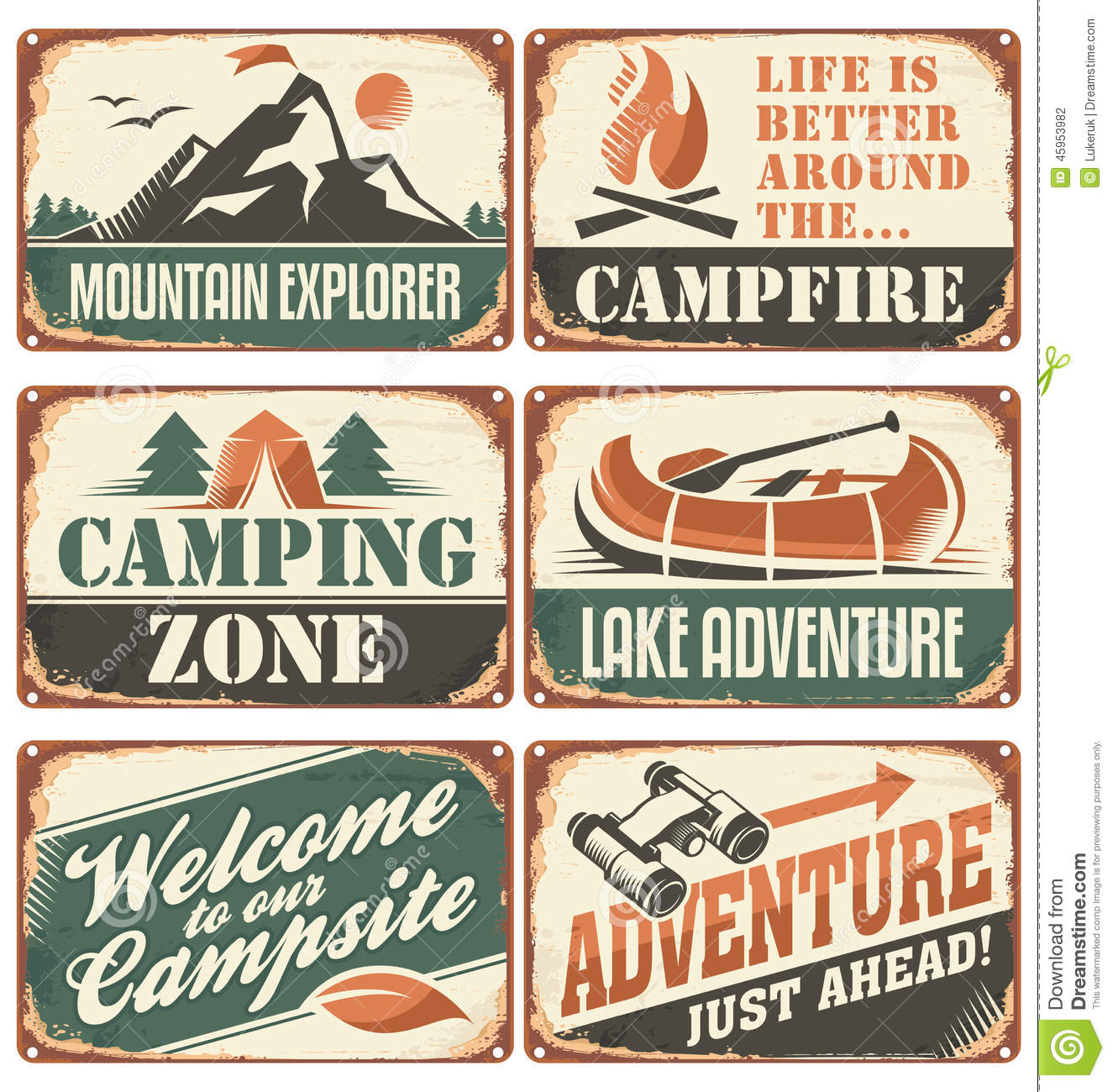 Camping Retro Signs Collection Stock Vector - Illustration ...