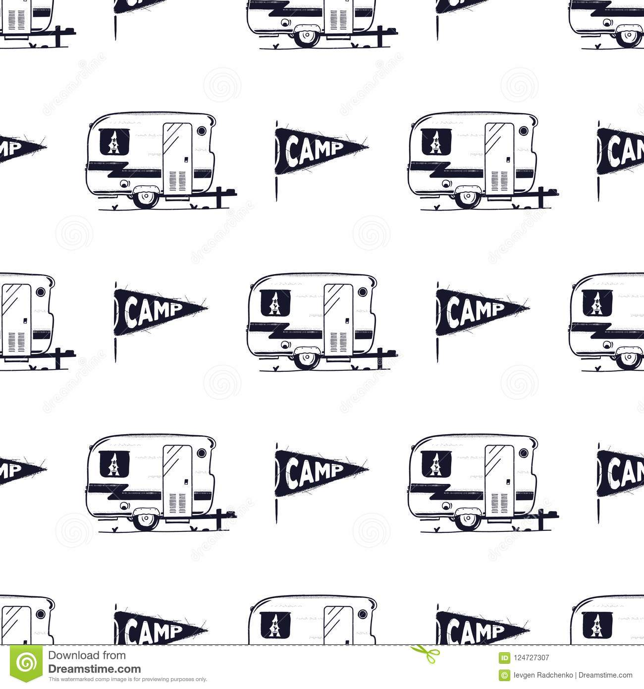 Camping Rv Seamless Pattern With Camp Pennant Symbol Retro