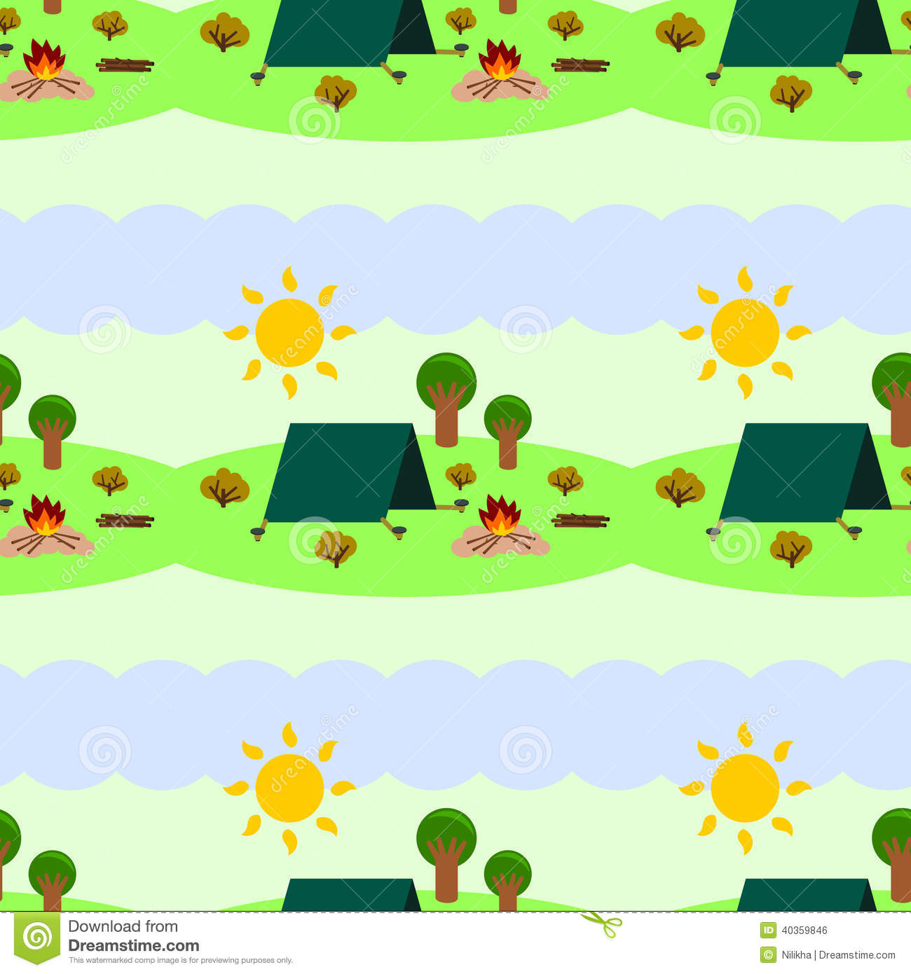 Camping Seamless Background Design