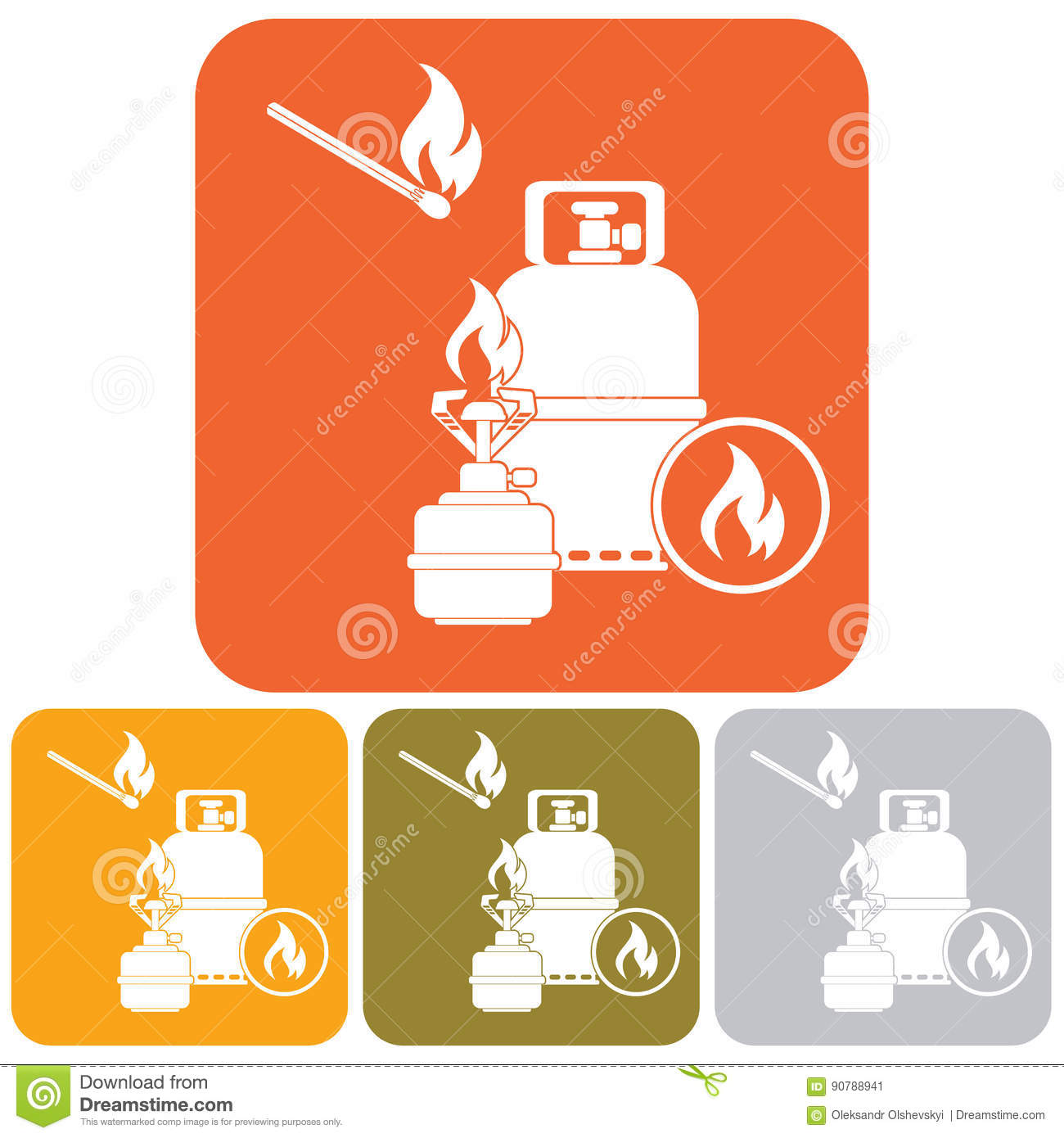 Camping Stove With Gas Bottle Icon Cartoon Vector