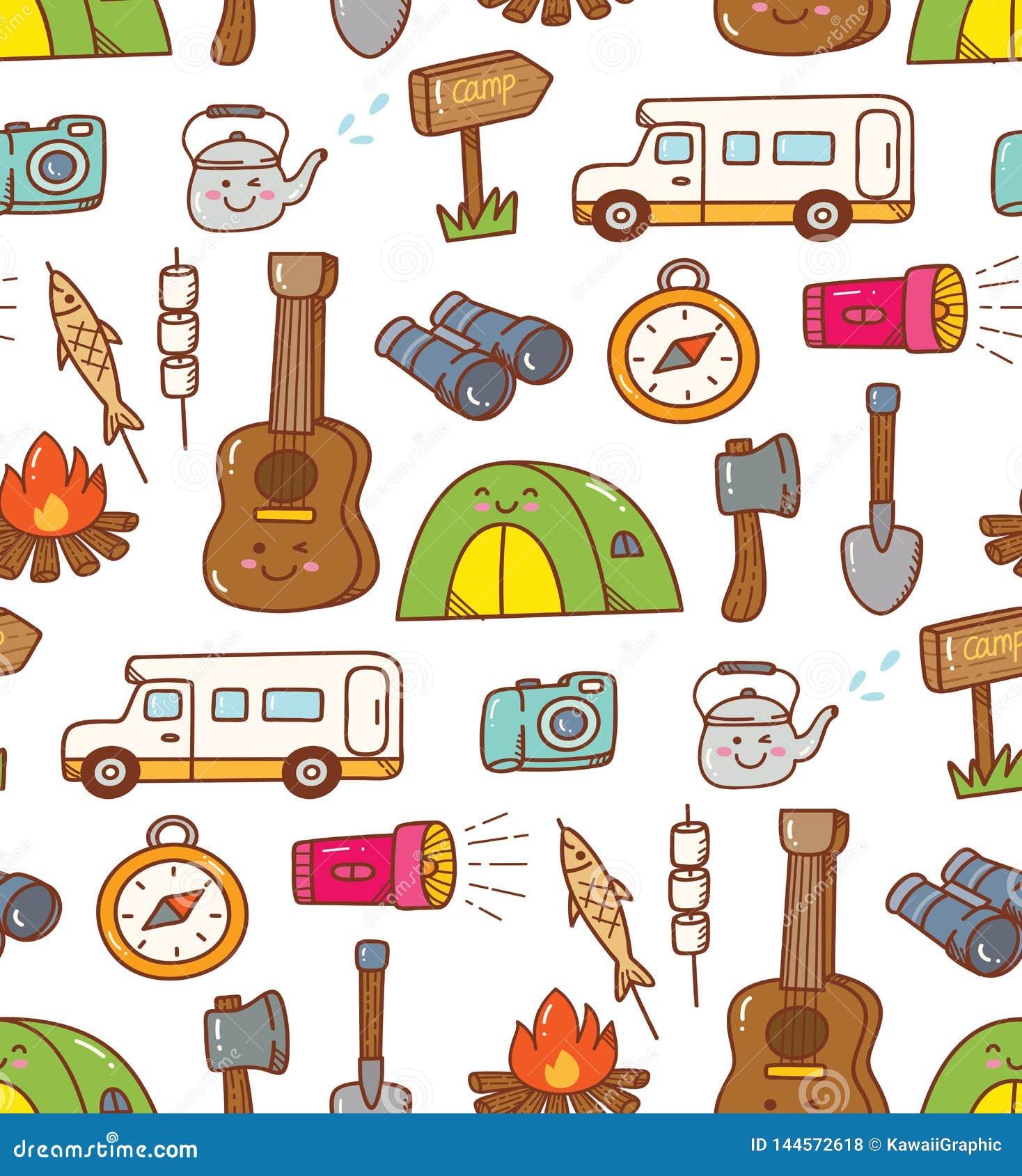 Camping Stuff Kawaii Doodle Seamless Background Stock Illustration Illustration Of Icon Backdrop 144572618