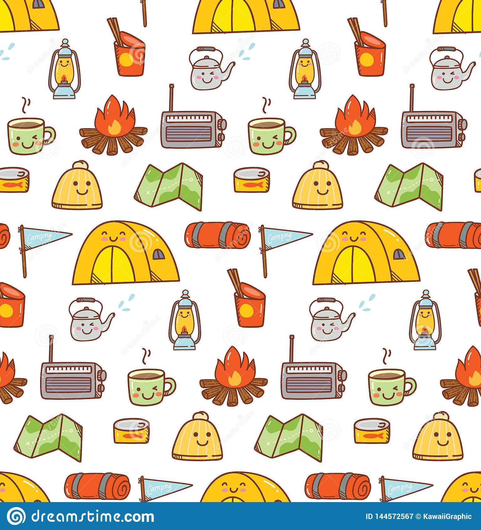 Camping Stuff Kawaii Doodle Seamless Background Stock Illustration Illustration Of Fabric Drawing 144572567