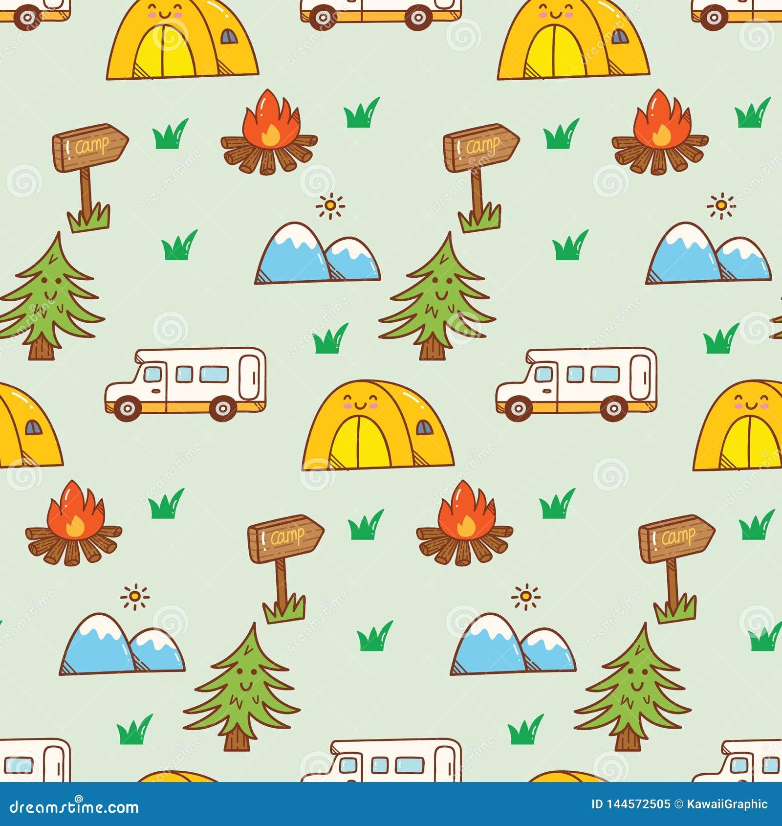 Camping Stuff Kawaii Doodle Seamless Background Stock Illustration Illustration Of Mountain Campfire 144572505