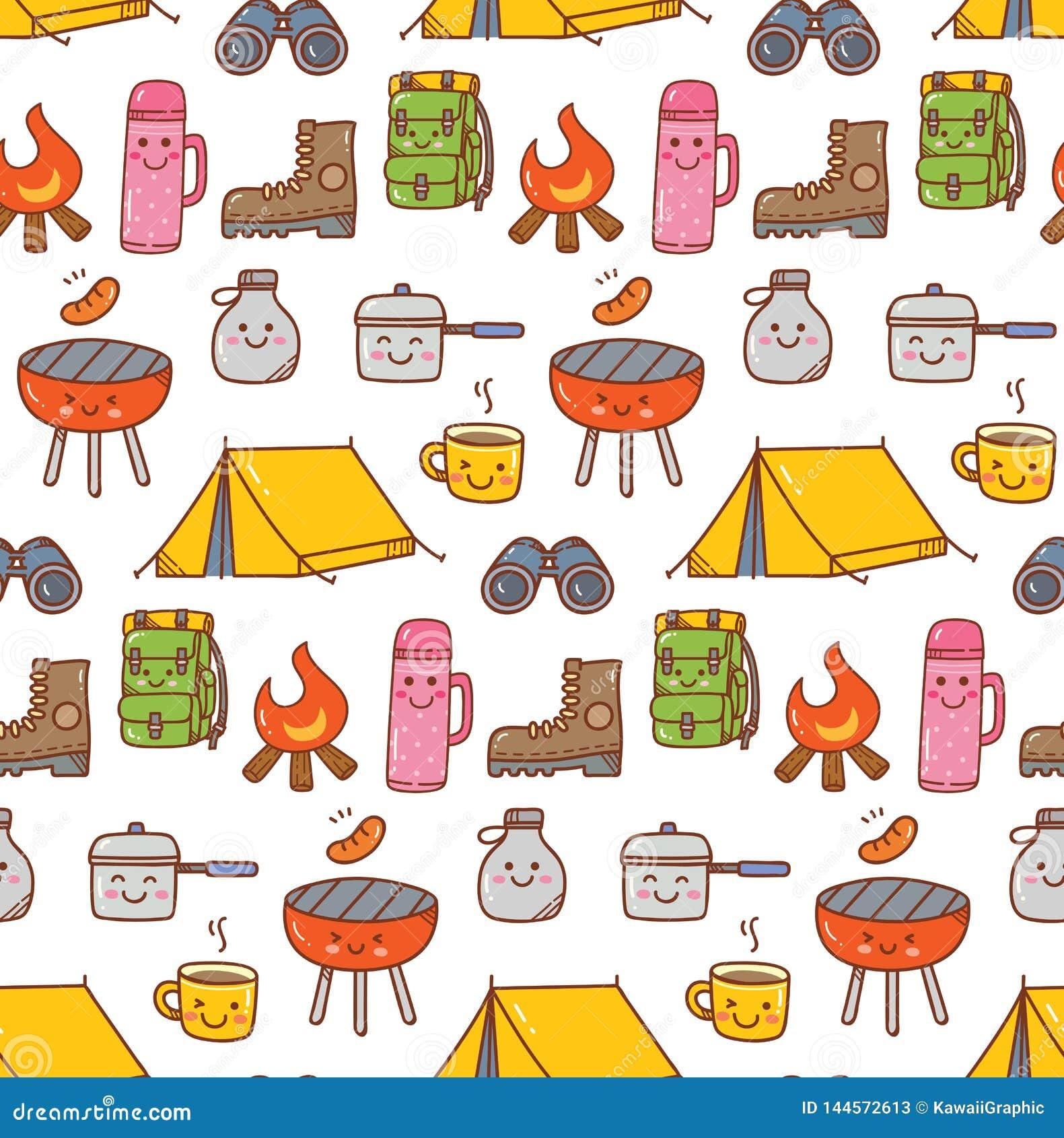 Camping stuff kawaii doodle seamless background