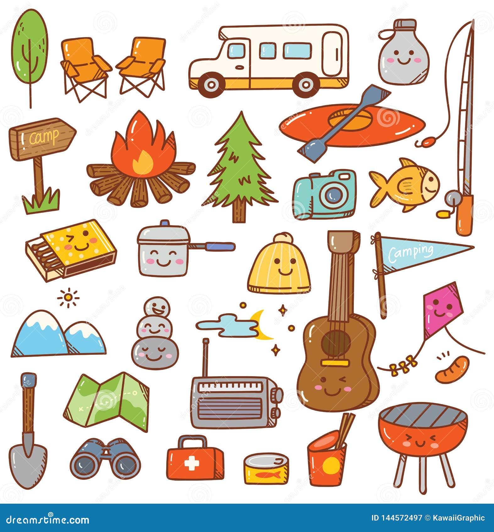 Camping Stuff Kawaii Doodle Set Stock Illustration Illustration Of Guitar Hiking 144572497