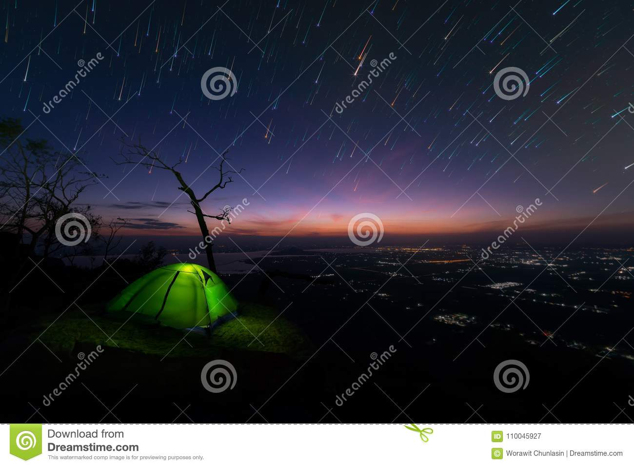 Camping Tent Glows On Mountain Under A Night Sky, Background