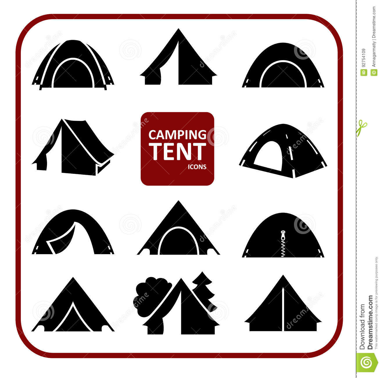 Camping tent icons set stock vector. Illustration of ...
