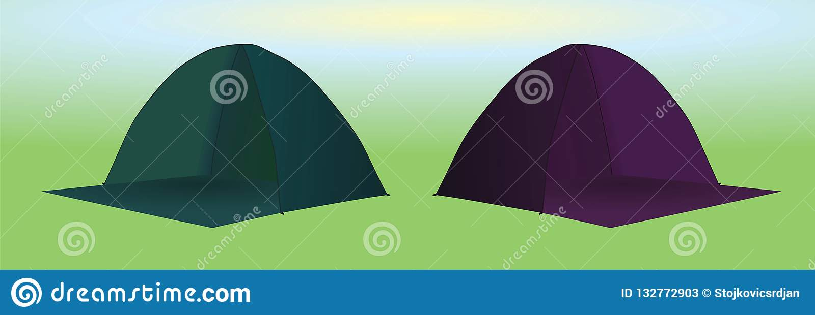 Camping tents green and purple