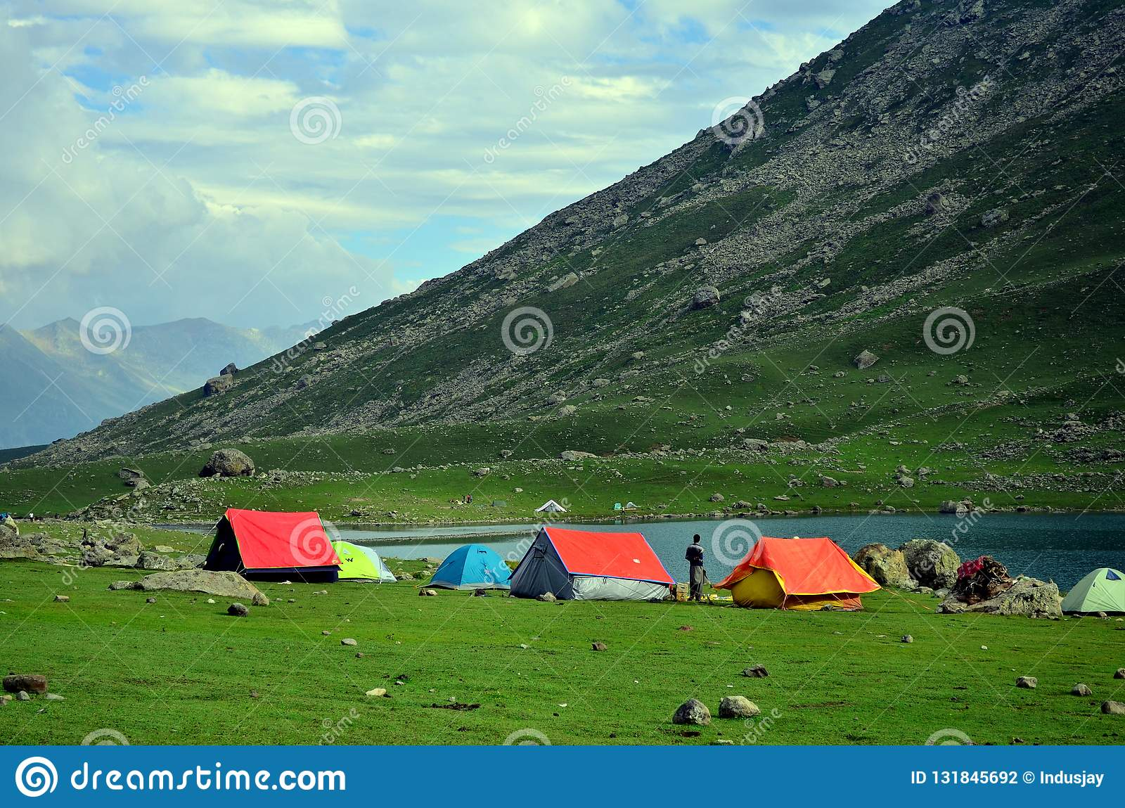 Camping tents at the Nundkol lake in Sonamarg, Kashmir, India