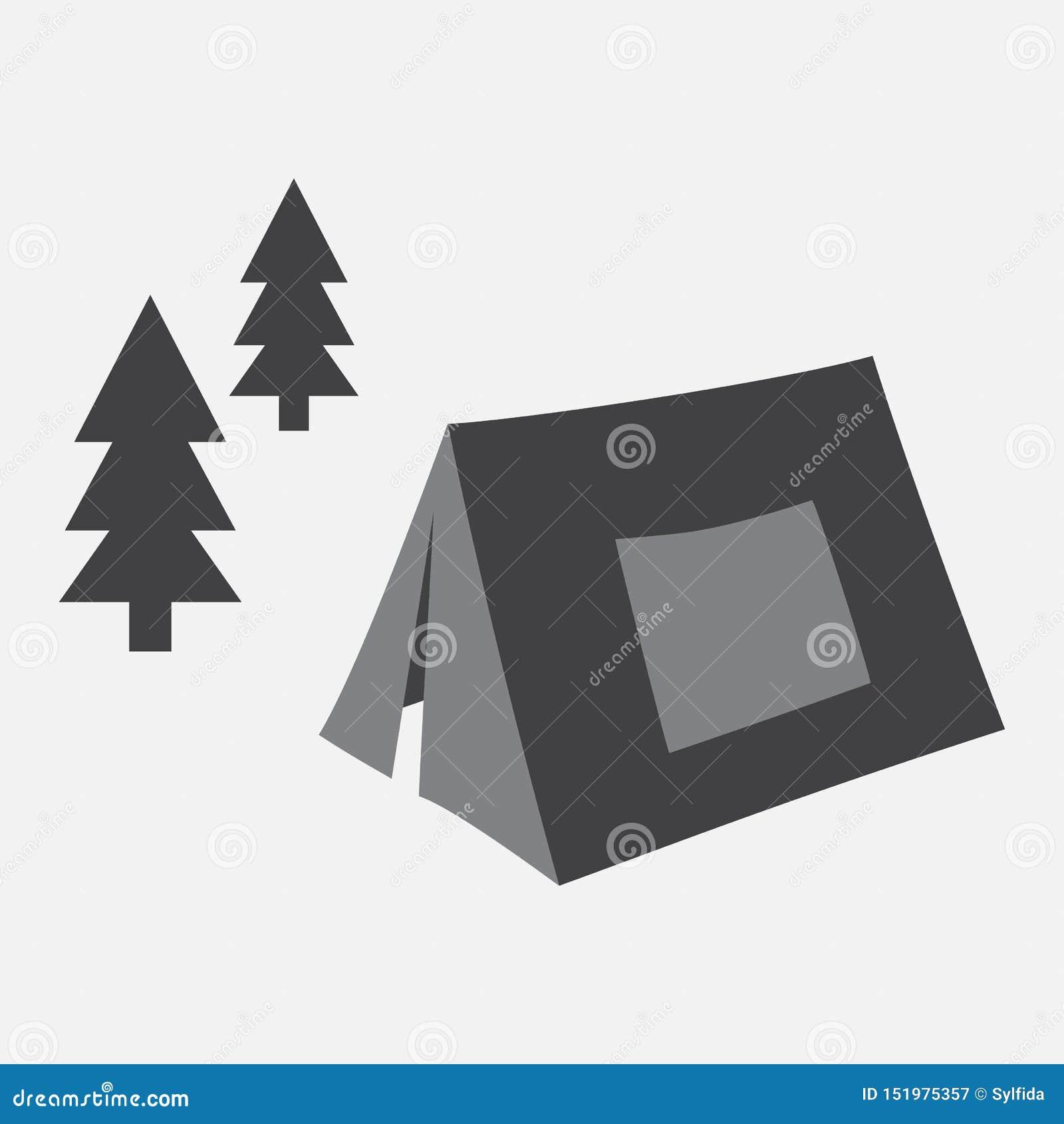 Camping Tienda en el vector del bosque