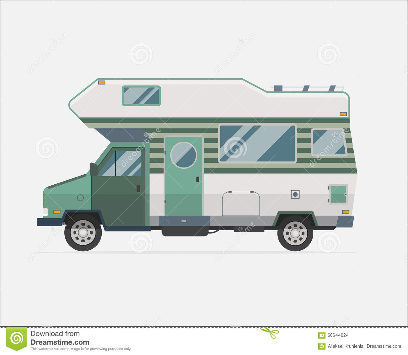 Camping Trailer Family Traveler Truck Flat Style Icon Stock