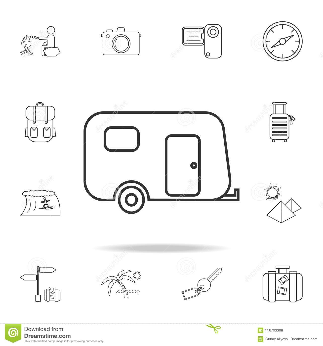 Camping trailer line icon. Set of Tourism and Leisure icons. Signs, outline furniture collection, simple thin line icons for websi