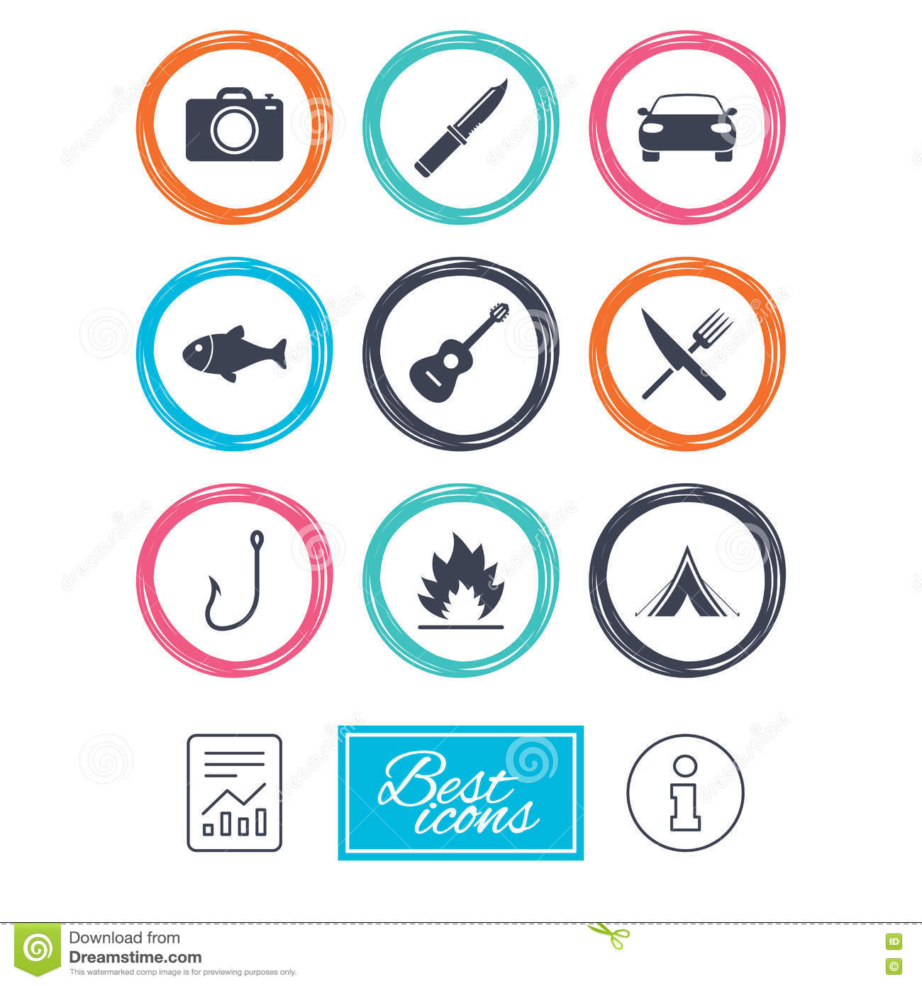 Camping Travel Icons Fishing Tourist Tent Stock Vector