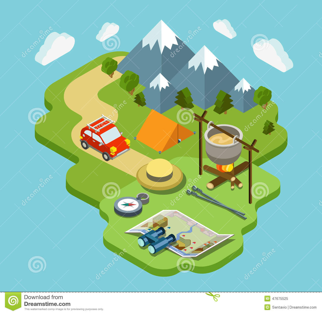 Camping travel outdoor active vacation flat 3d isometric for 3d flat design online
