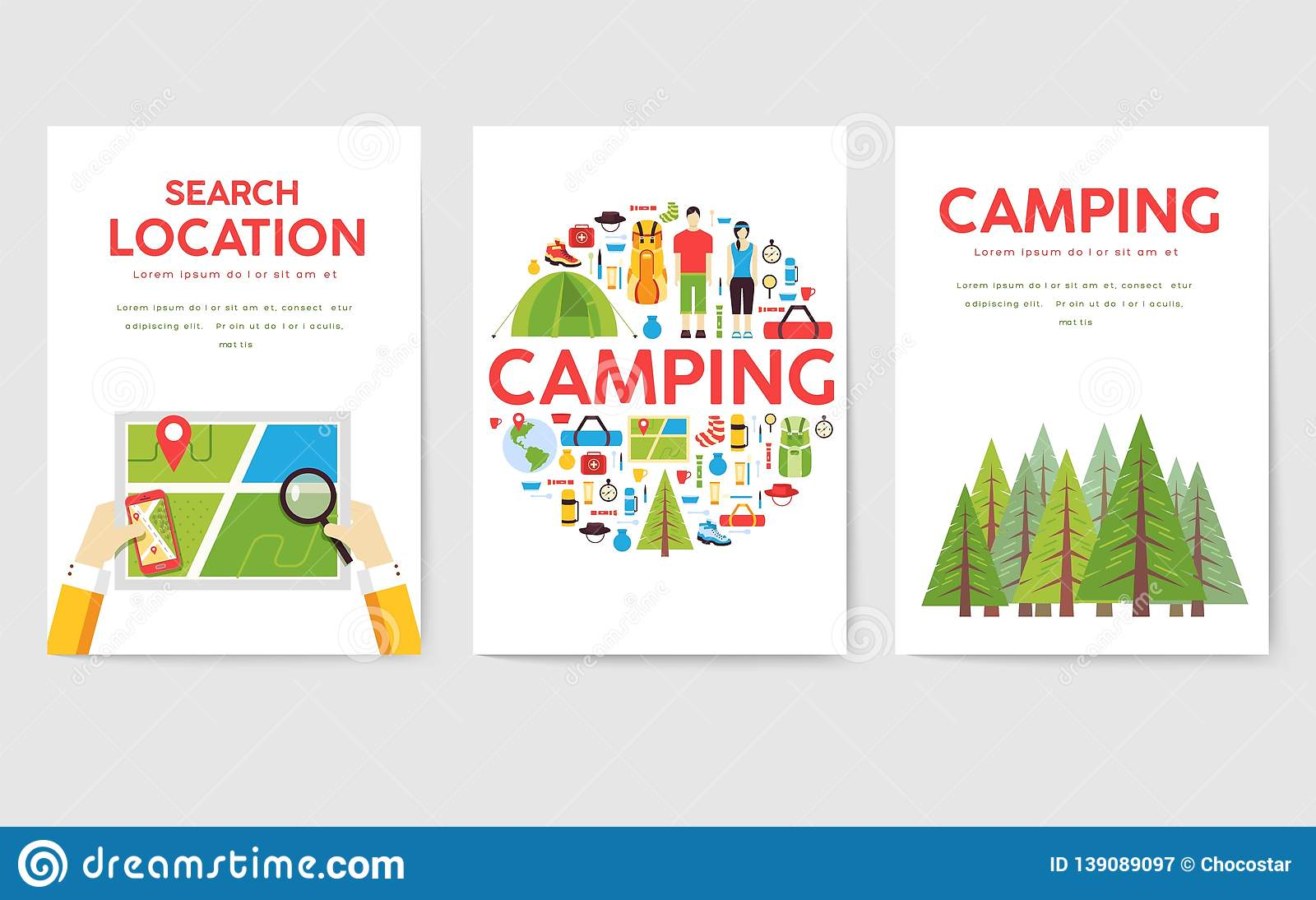 Camping Trip Cards Set  Hiking Template Of Flyear, Magazines