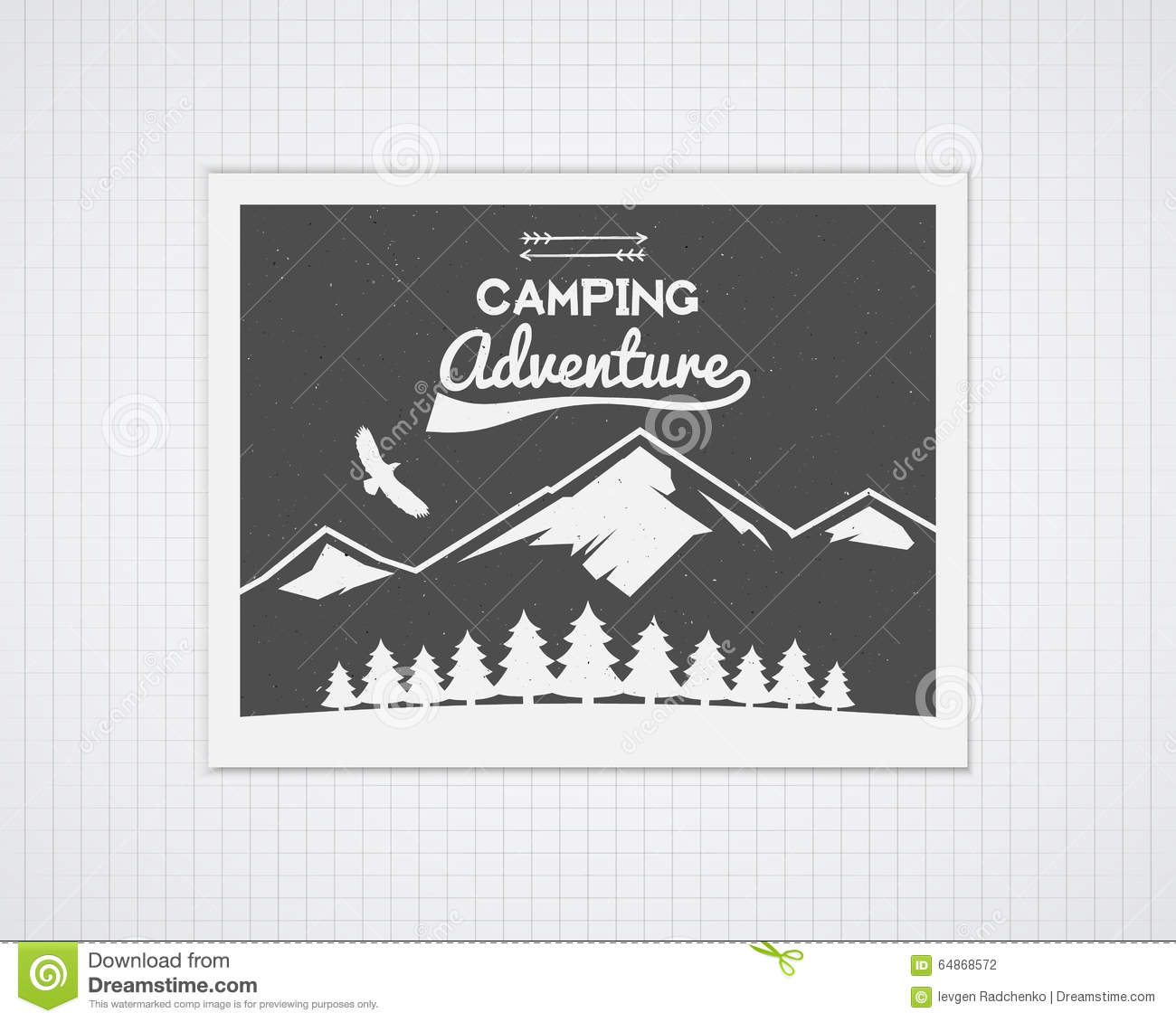 Poster design monochrome - Camping Vector Frame Template With Travel Poster Stock Photography