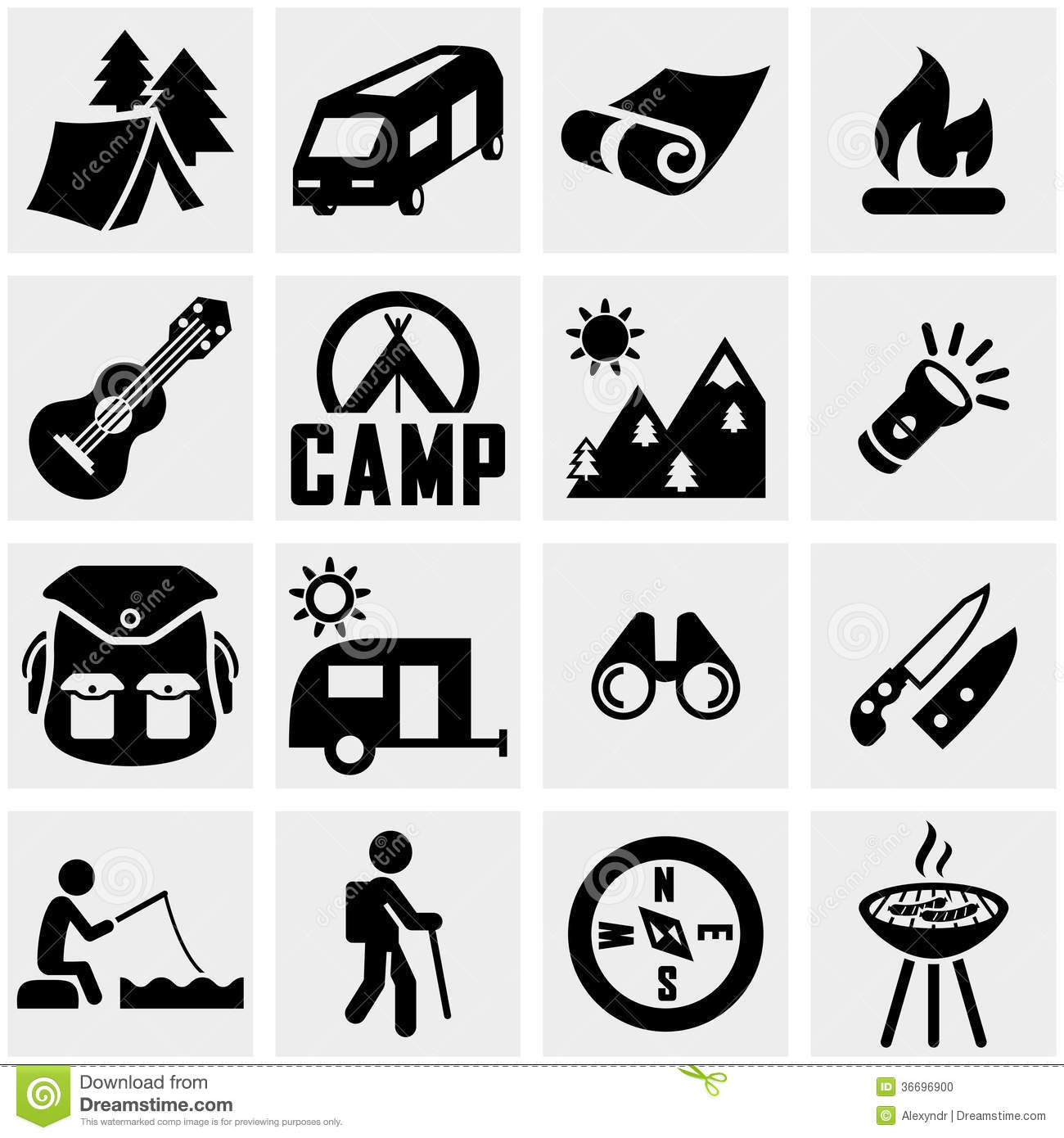 Camping Vector Icon Set On Gray Stock Photo - Image: 36696900