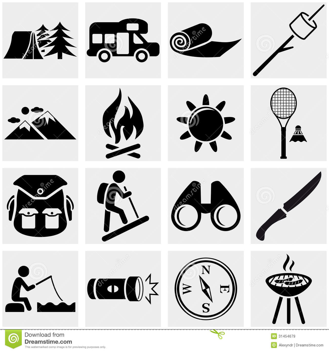 Camping Vector Icon Set On Gray Cartoon Vector ...