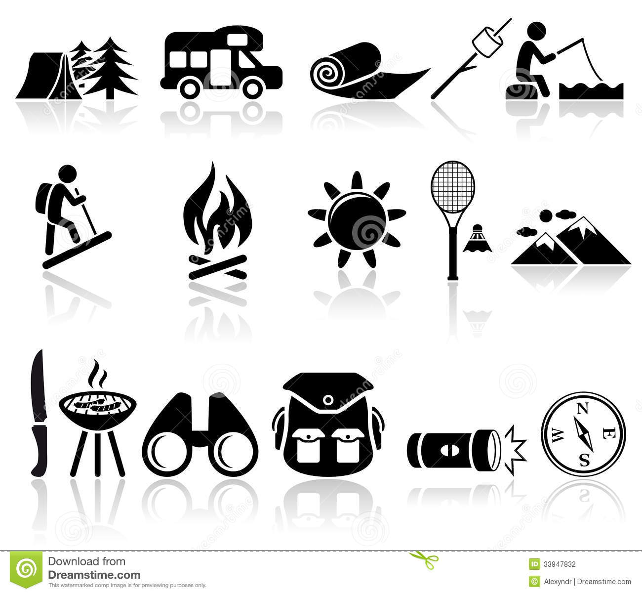 camping vector icons set eps 10 stock photography
