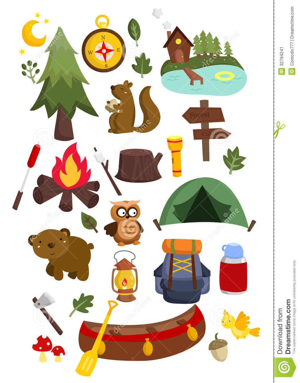 Camping Vector Set Stock Illustration Of Adventure