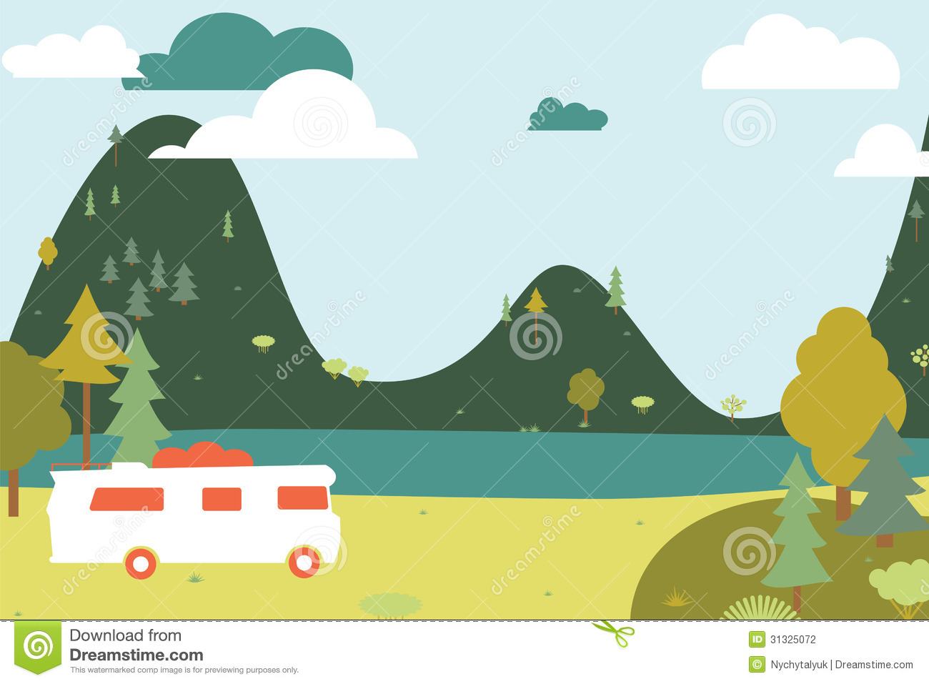Camping Wooden With Tent And Bus. Stock Vector - Image ...