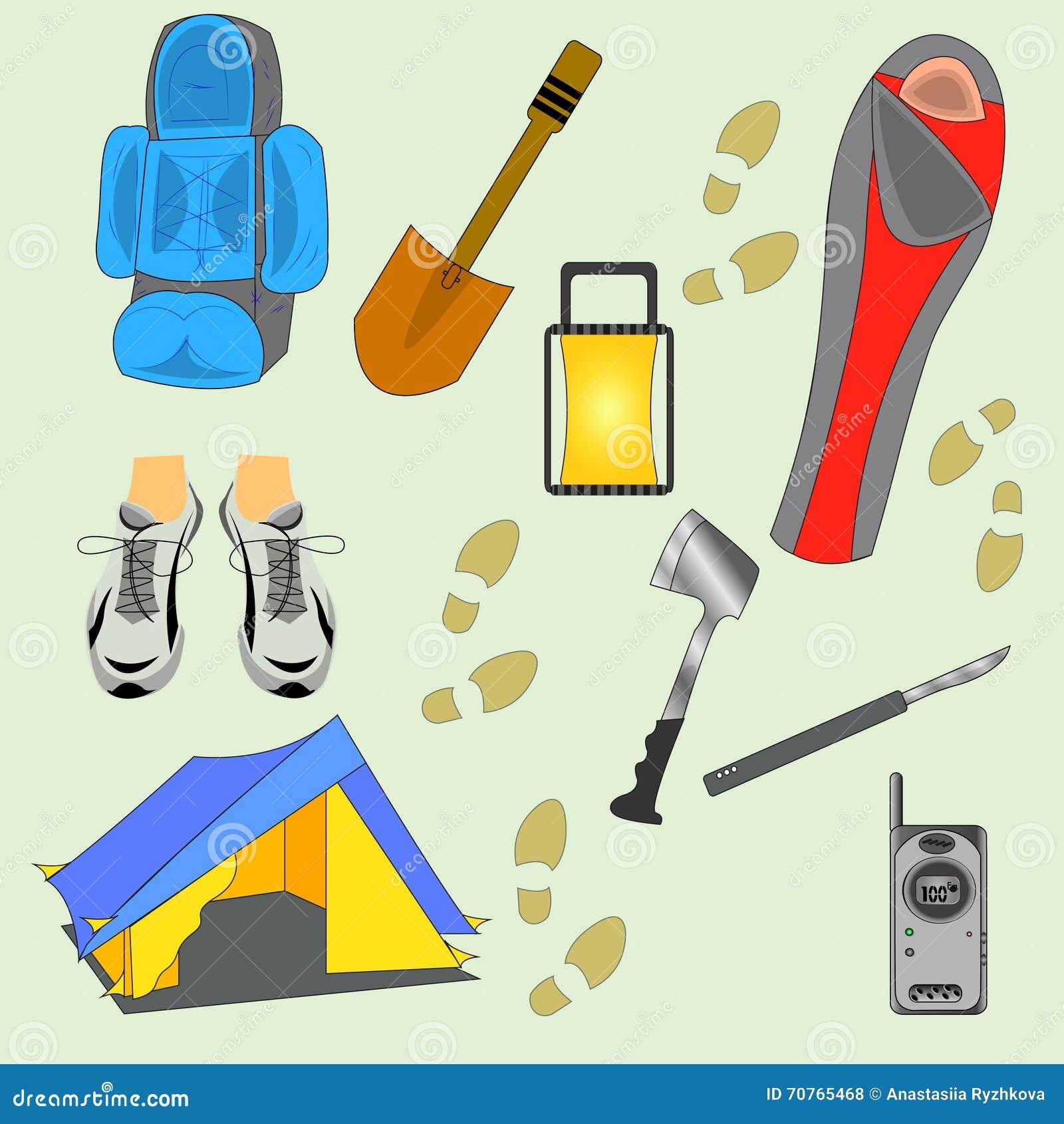 Campingowa materiału wektoru ilustracja Turystyczna wyposażenie sylwetka Odizolowywająca Na Jasnozielonym tle