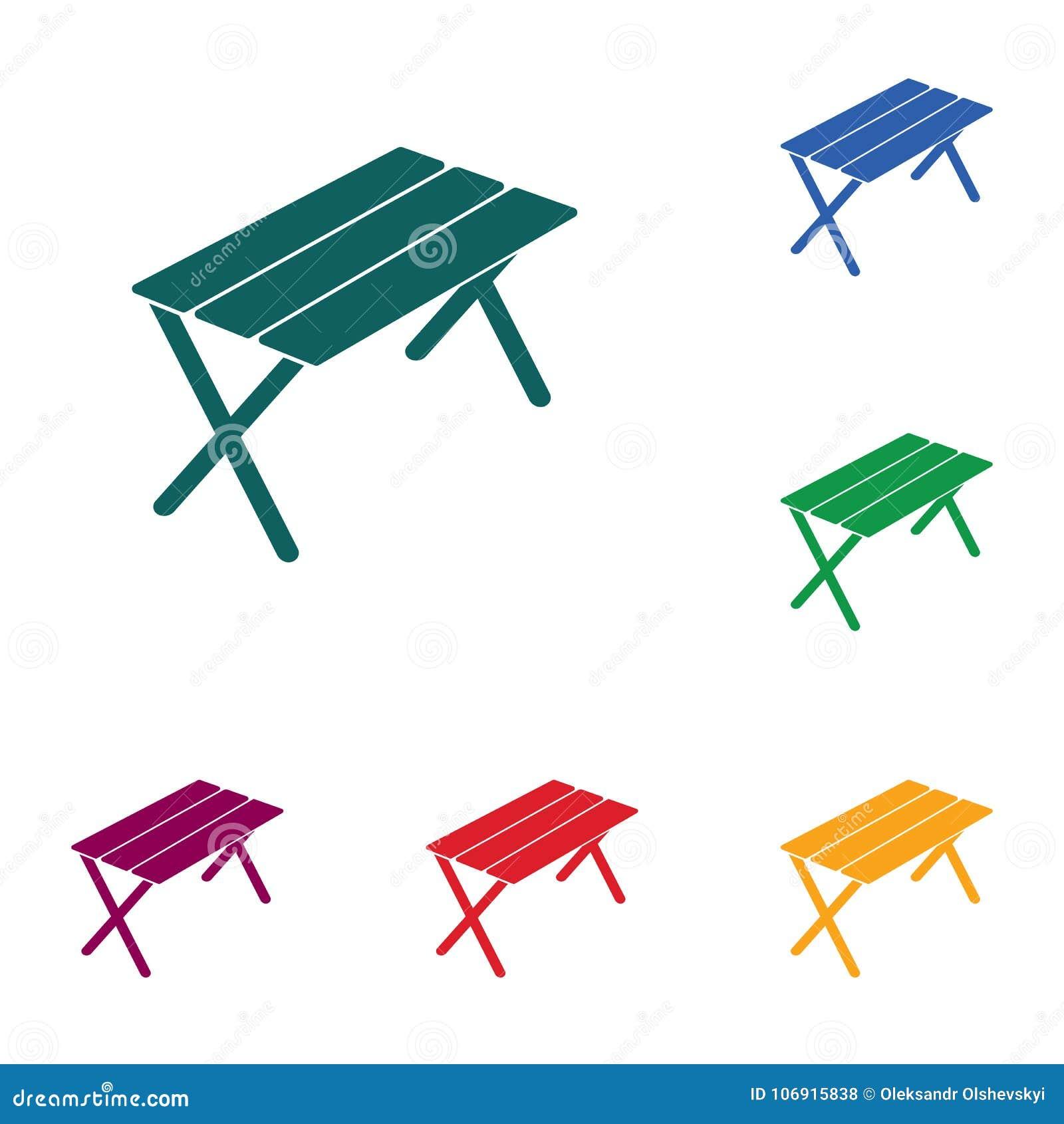 Campingowa stołowa ikona