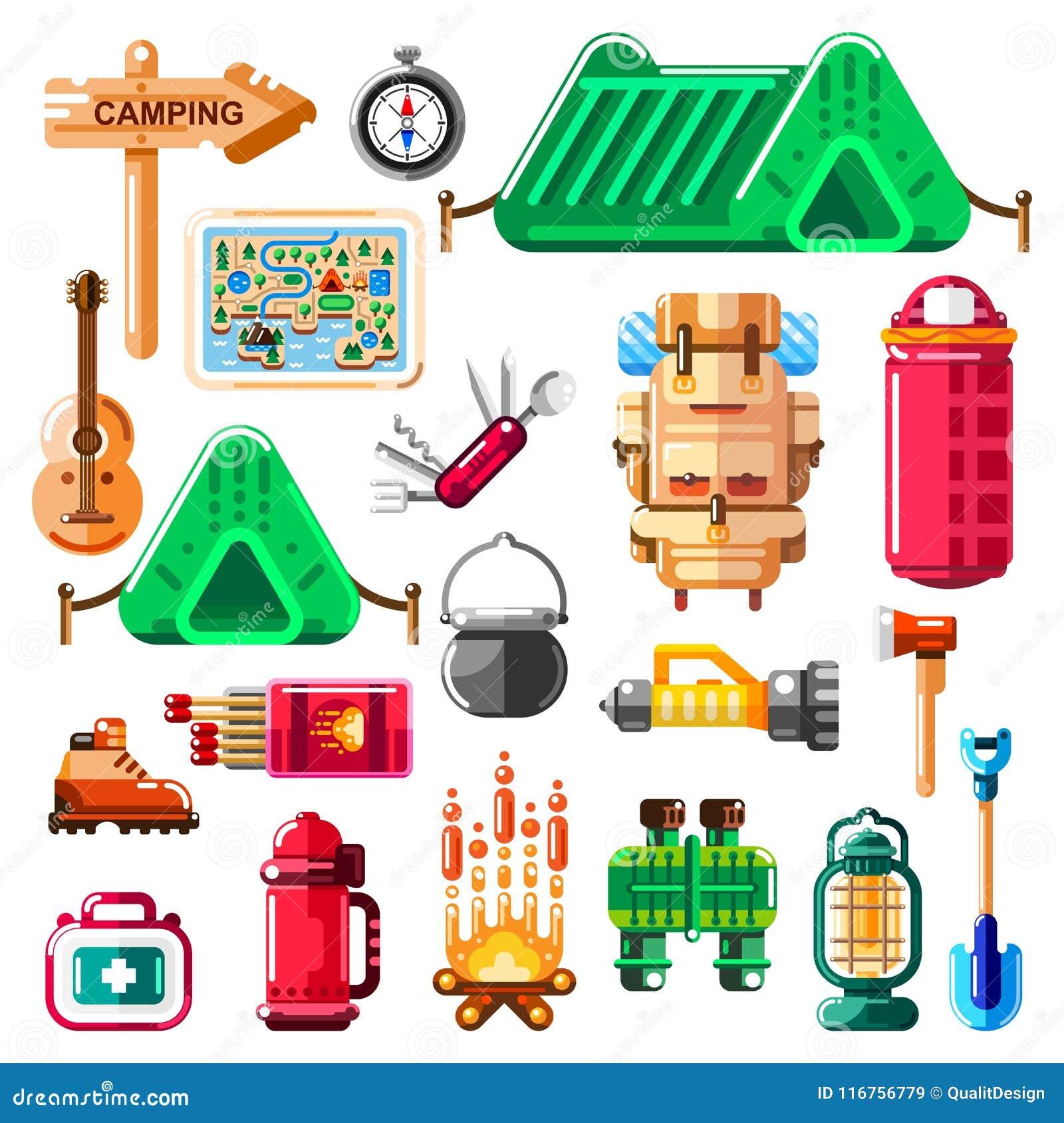 Campingowe ikony i odizolowywający projektów elementy ustawiający Wektoru obozu materiał, wyposażenie i narzędzia,