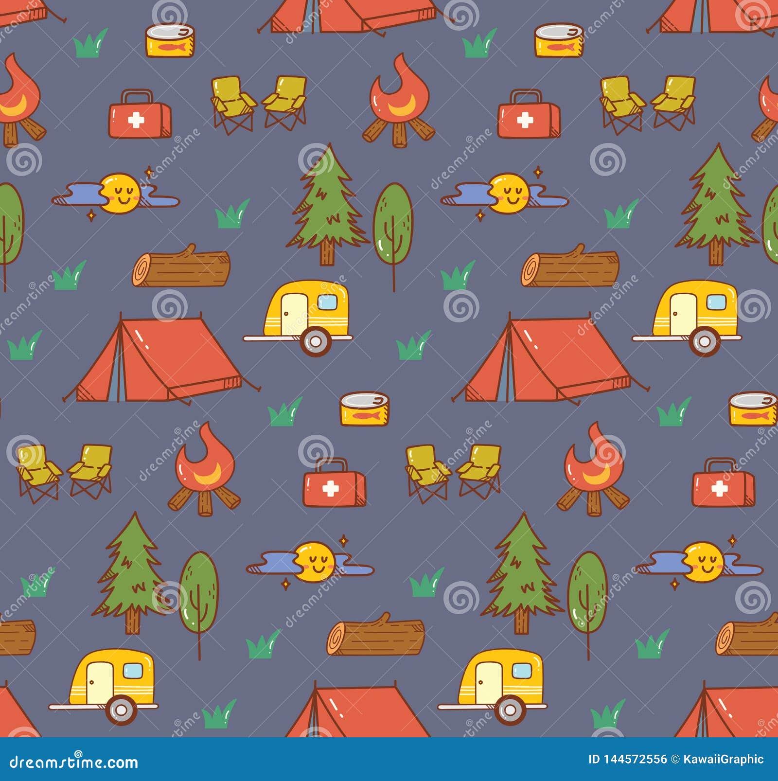 Campingowego materiału kawaii doodle bezszwowy tło