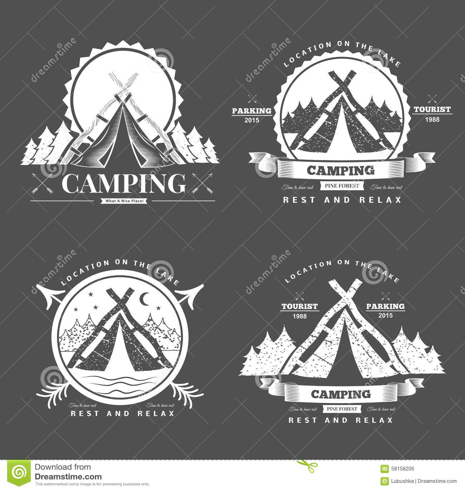 Campingowy retro wektorowy logo