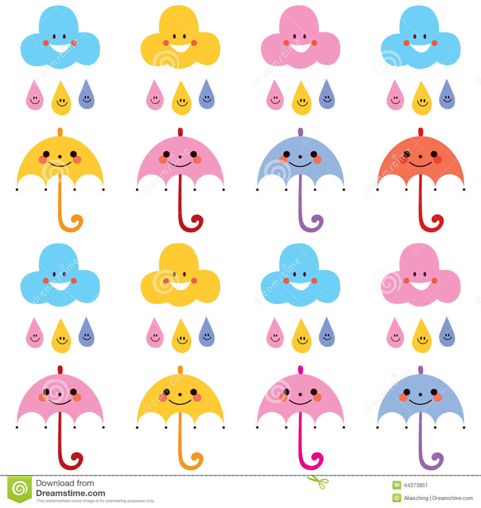 Campione sveglio del modello dei caratteri delle nuvole delle gocce di pioggia degli ombrelli