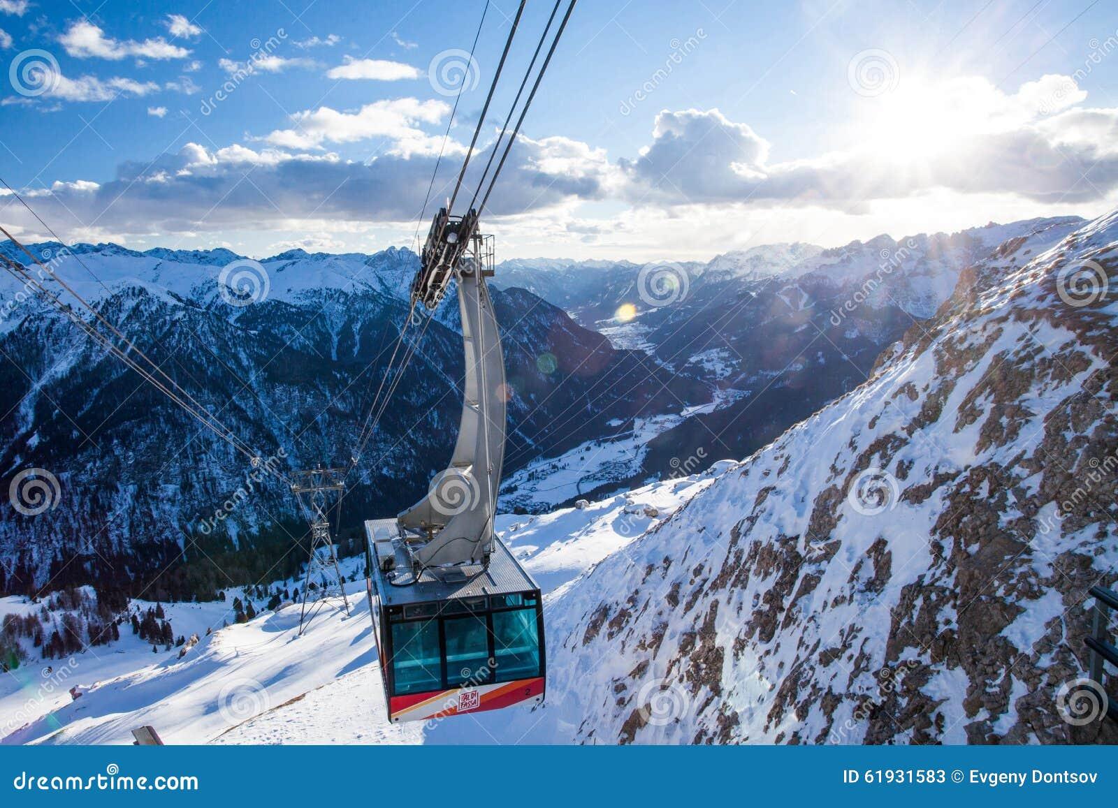 campitello di fassa ski resort in val gardena valley editorial stock