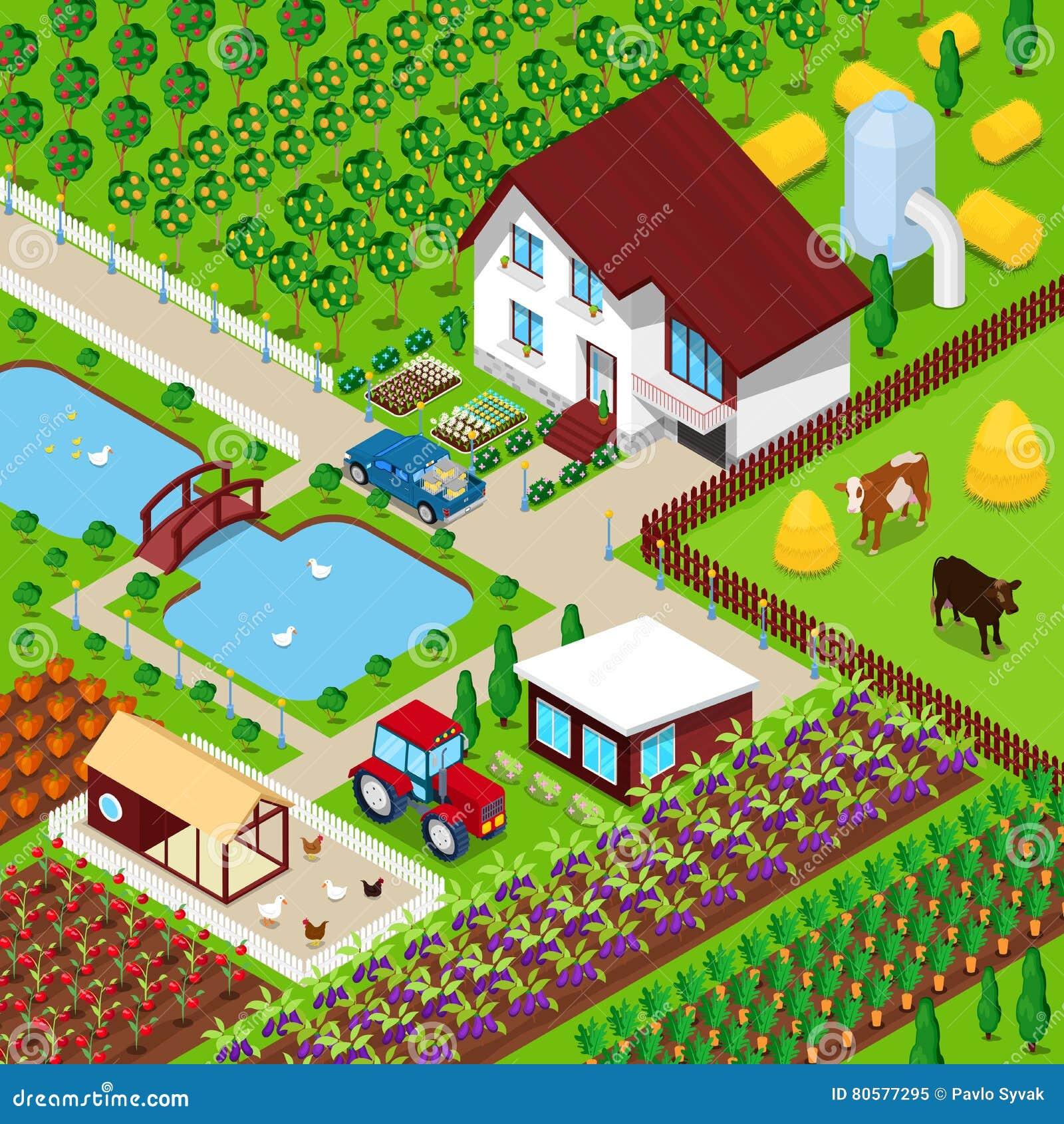 Campo agr cola de la granja rural isom trica con los - Casa rural con granja ...