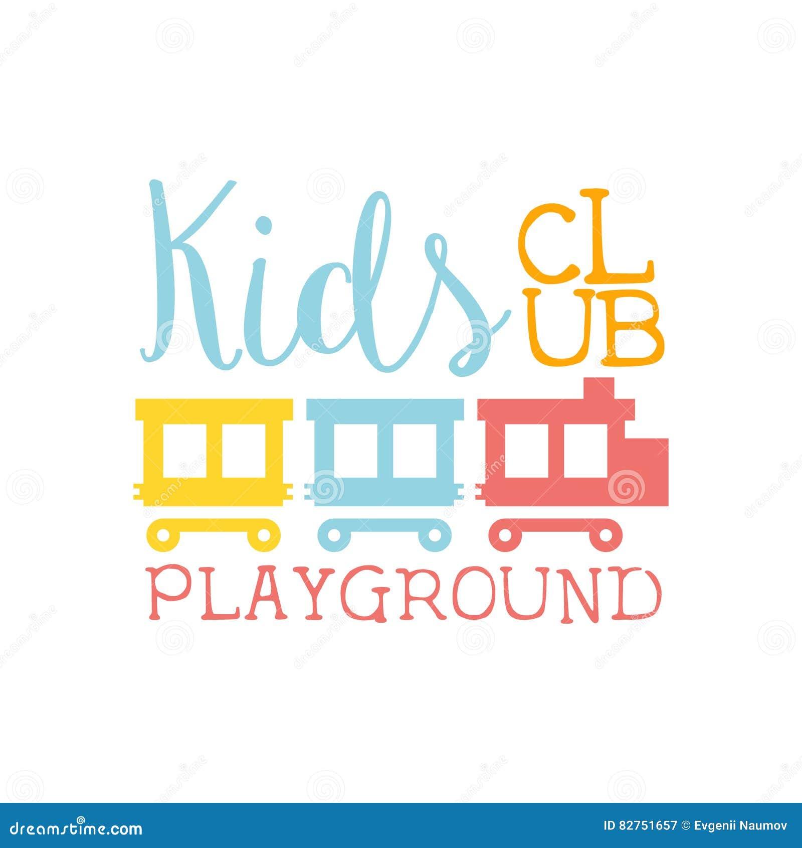 Campo da giuoco della terra dei bambini e segno variopinto di promo del club di spettacolo con lo spazio di Toy Train For The Pla
