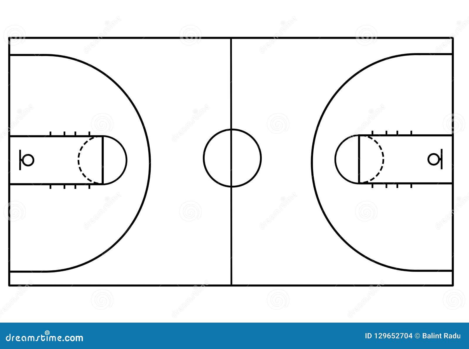 Campo da pallacanestro su fondo bianco