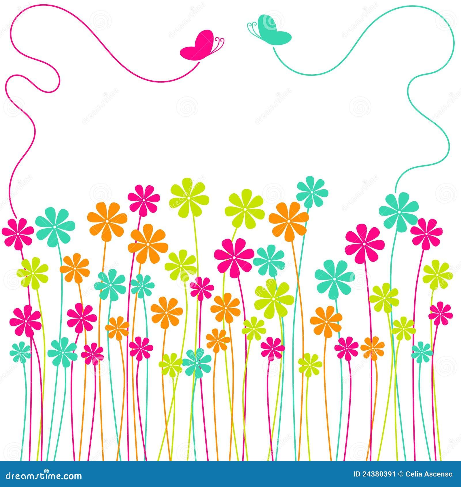 Campo de flores da mola com borboletas