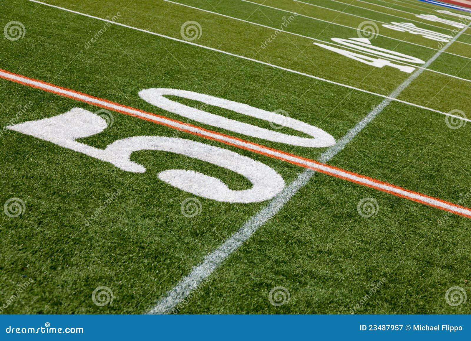 Campo de futebol americano - linha de jardas 50