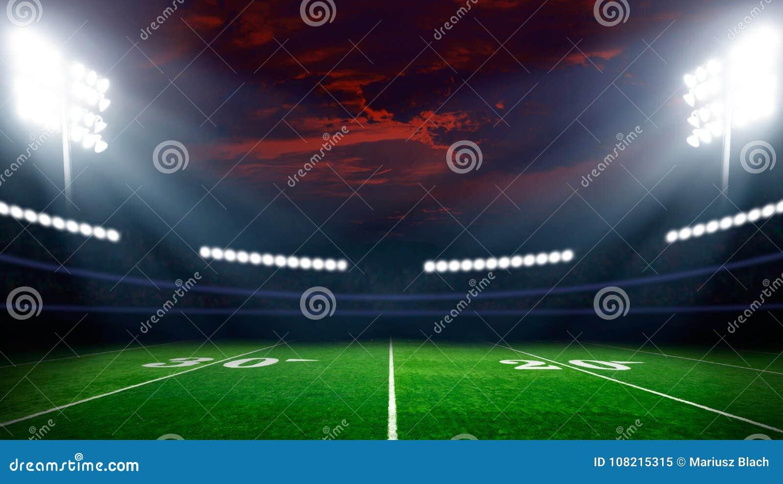 Campo de futebol com luzes do estádio