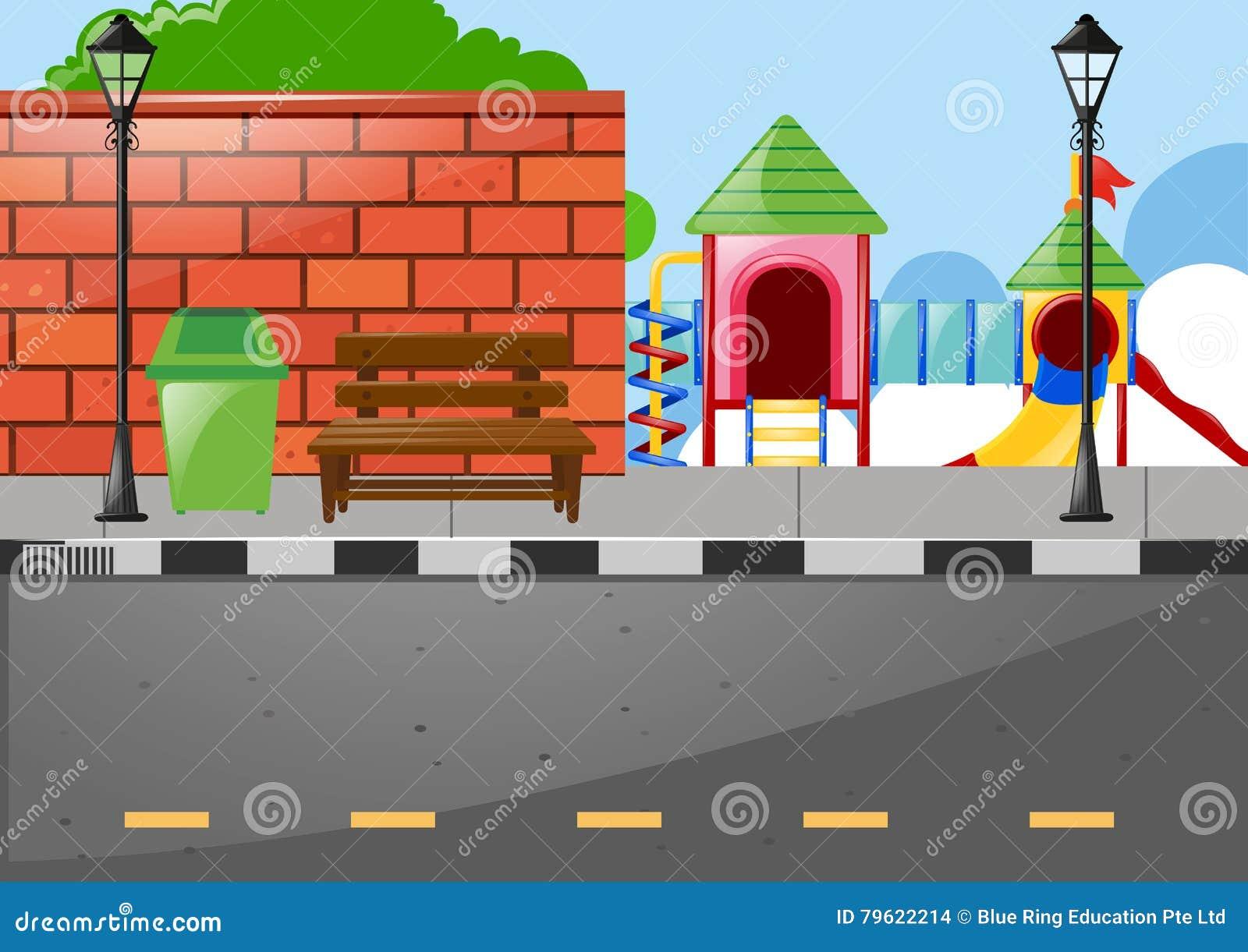 Campo de jogos no lado da estrada