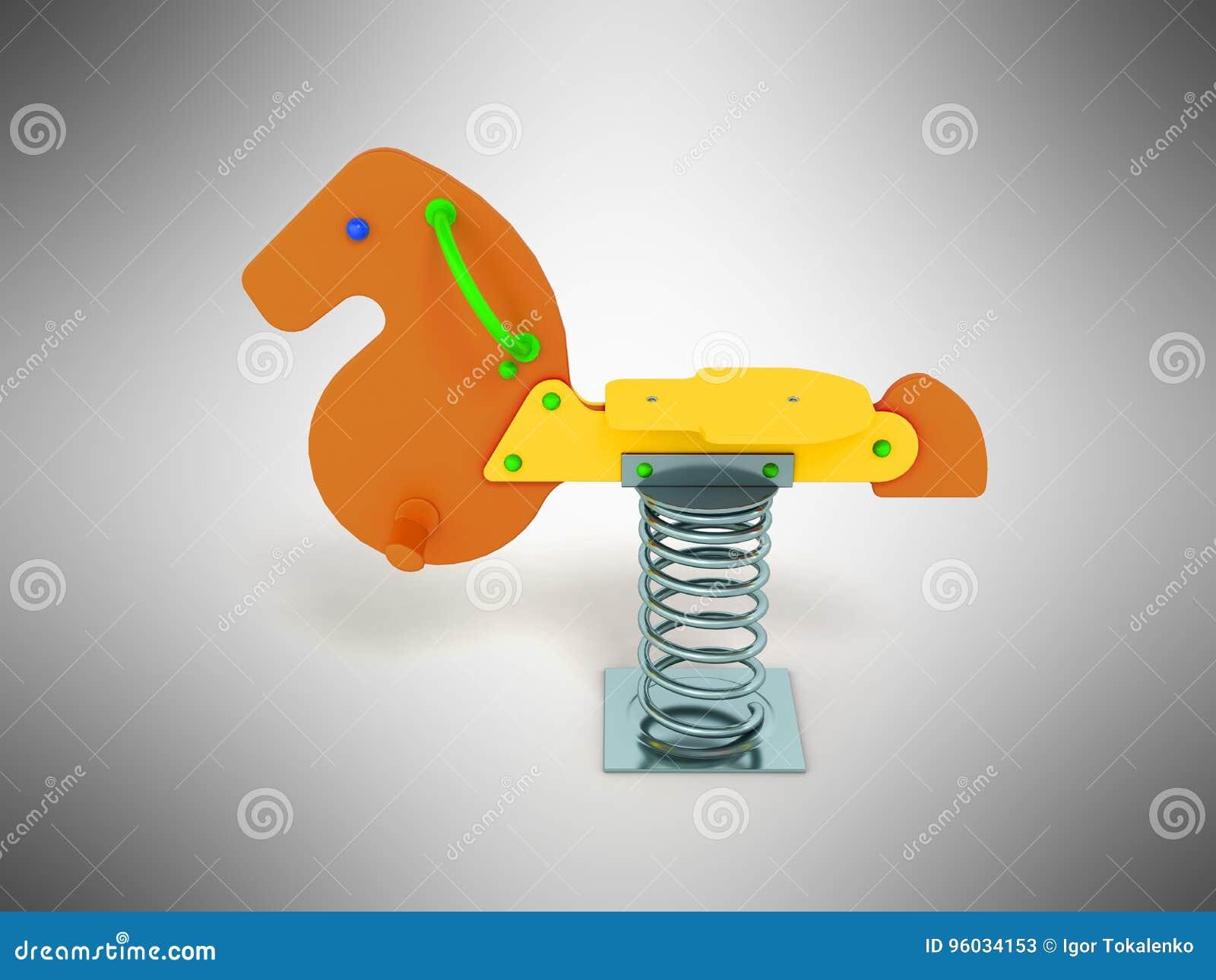 Campo de jogos para a laranja do verde amarelo do cavalo da mola das crianças no