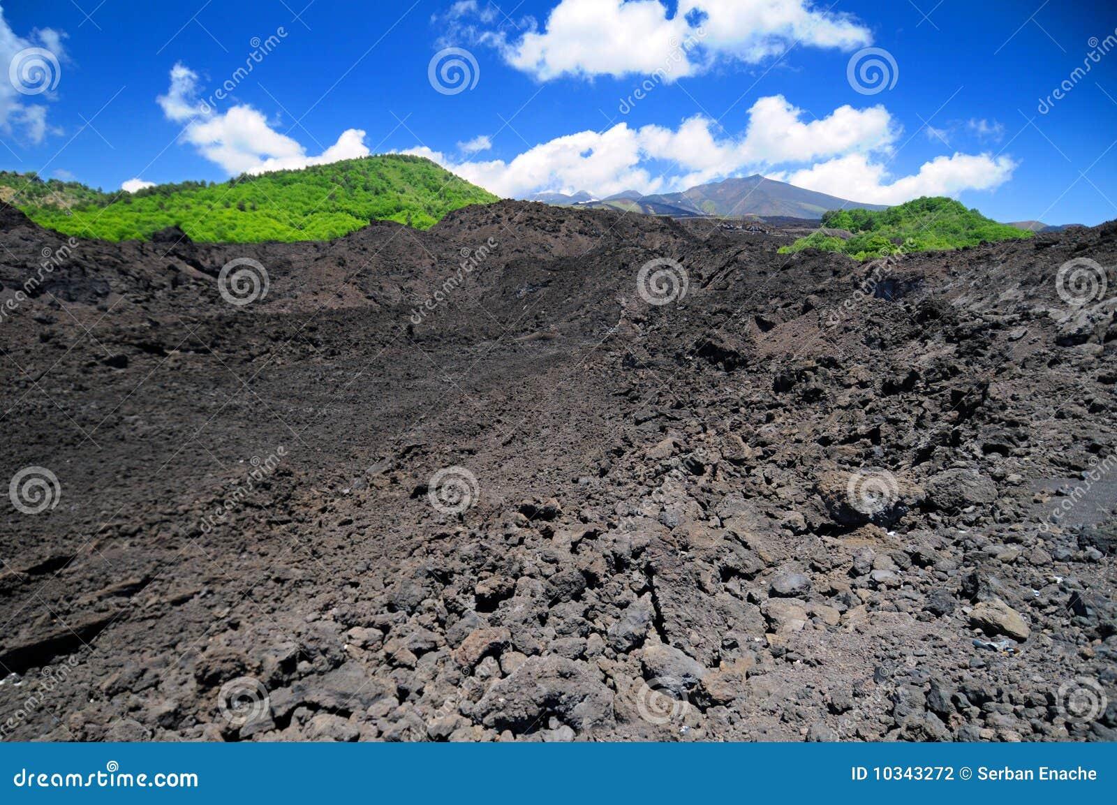 Campo de lava vulcânico do Mt Etna