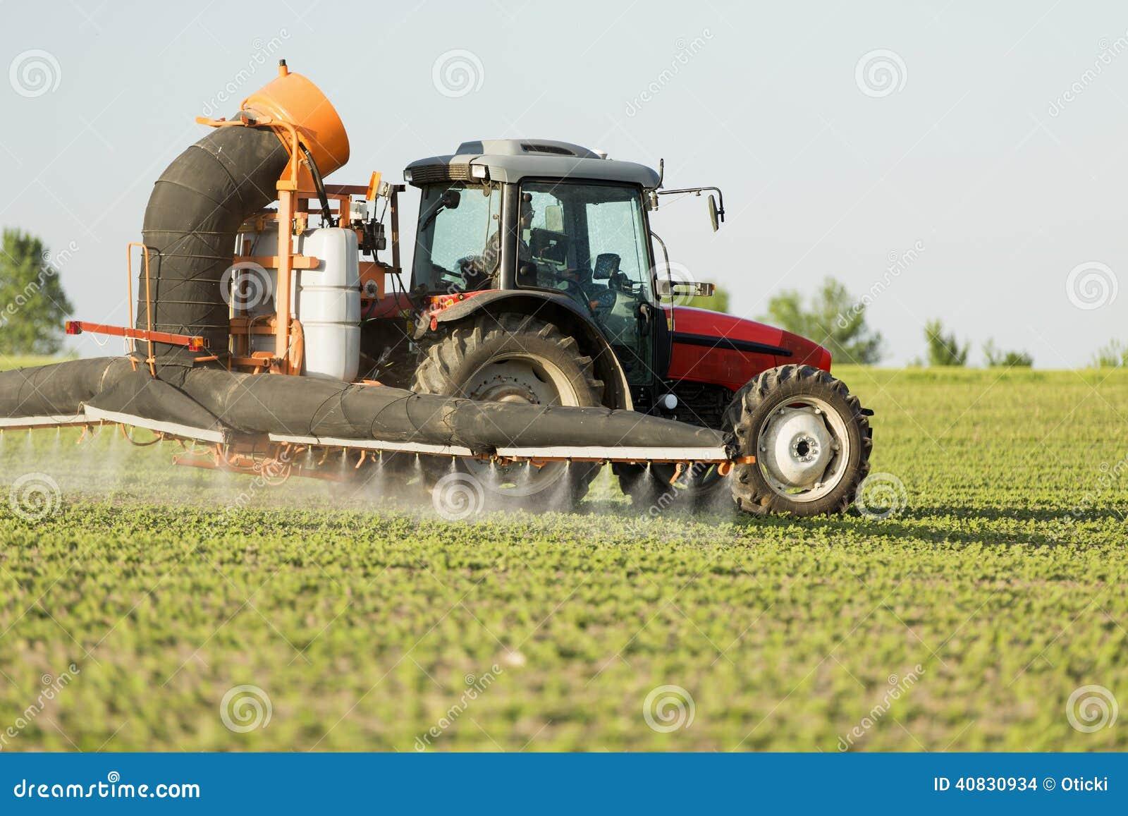 Campo de pulverização das colheitas do feijão de soja do trator