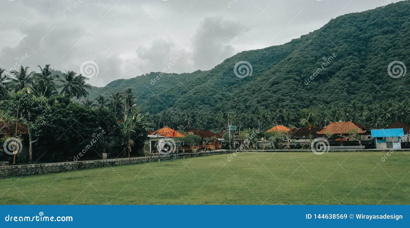 Campo di calcio semplice, con una regolazione naturale, nel villaggio di Bali Indonesia 3