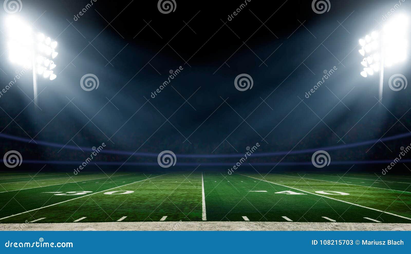 Campo di football americano con le luci dello stadio