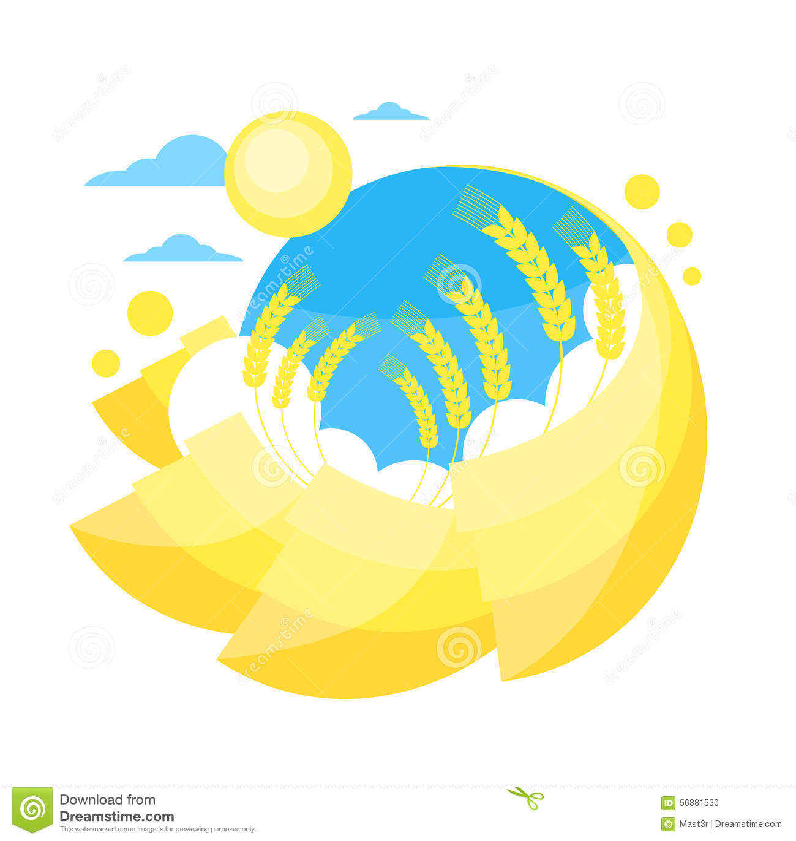 Campo dorato giallo di Sun di estate del grano del cielo blu