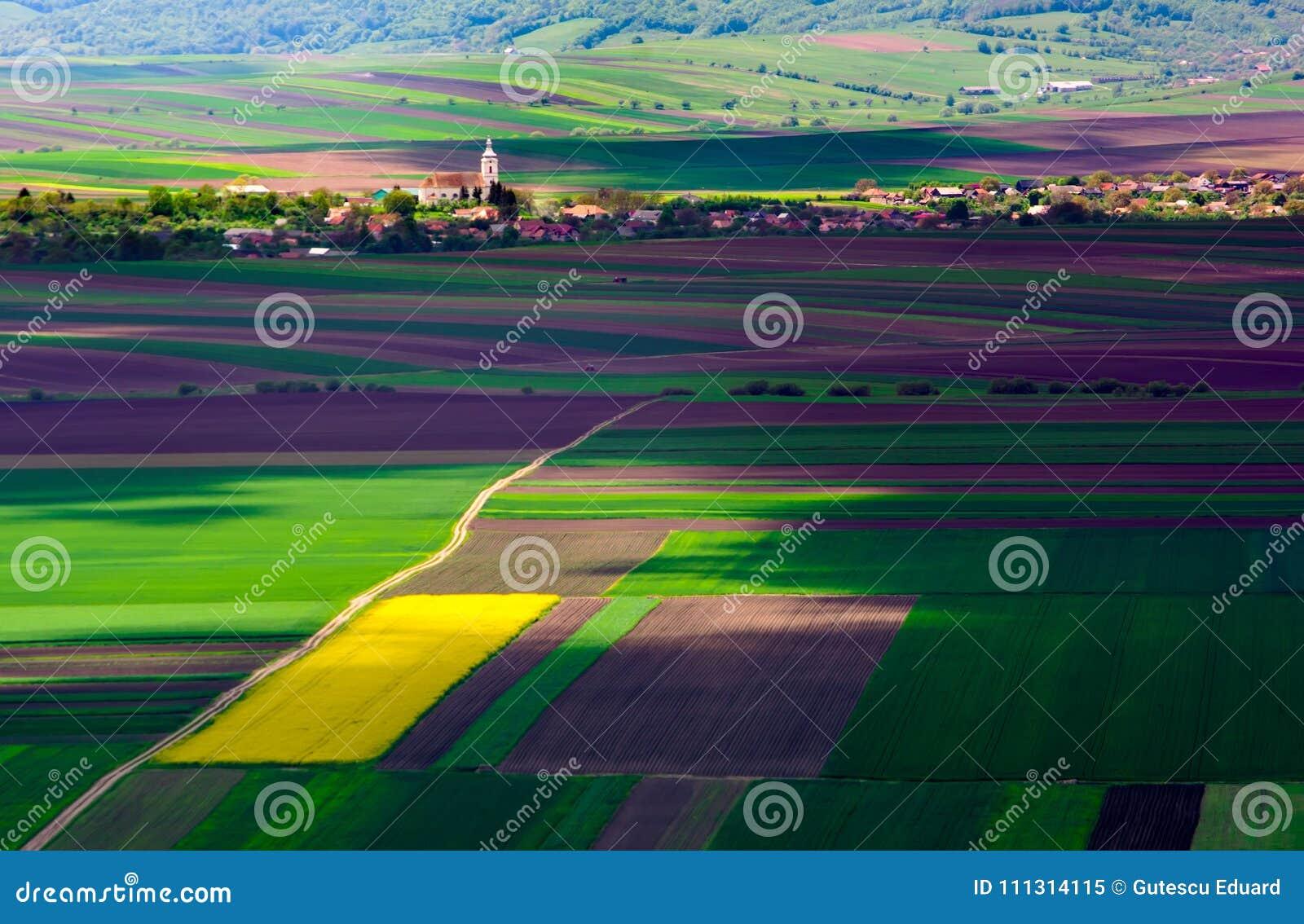 Campos agrícolas em um dia de verão com vila da Transilvânia