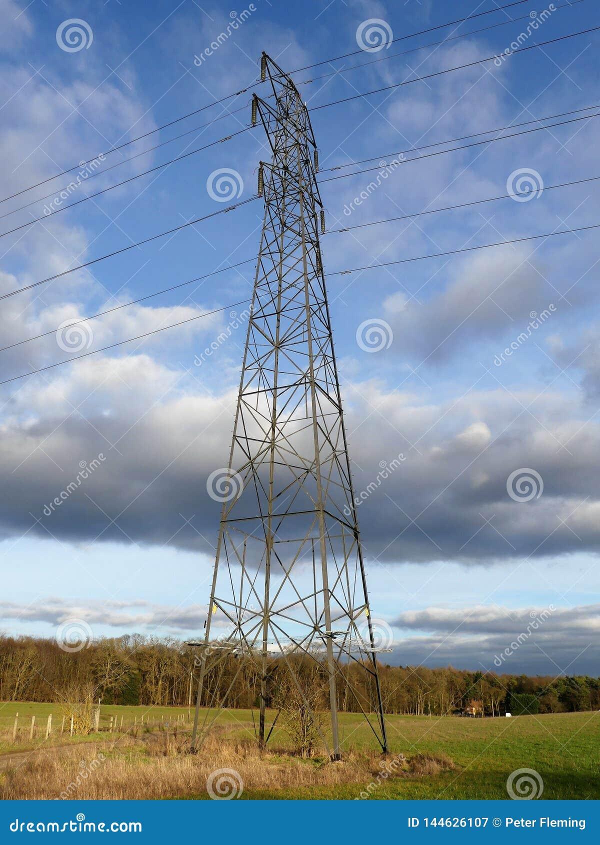 Campos de cruzamento do pilão da eletricidade