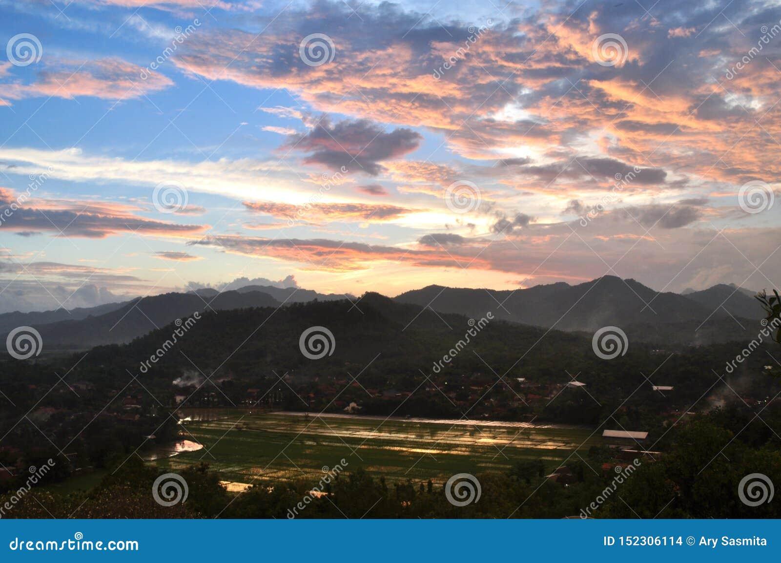 Campos do arroz de montanha do por do sol