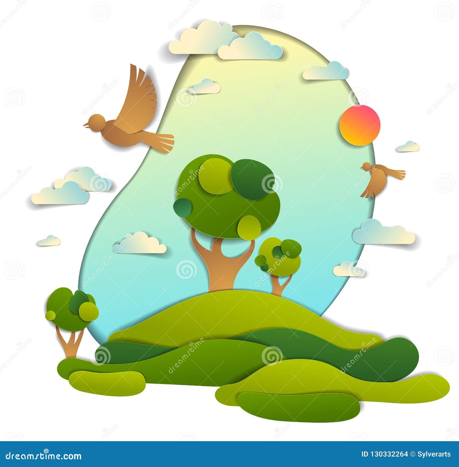 Campos verdes y paisaje escénico de los árboles del verano con BI de las nubes