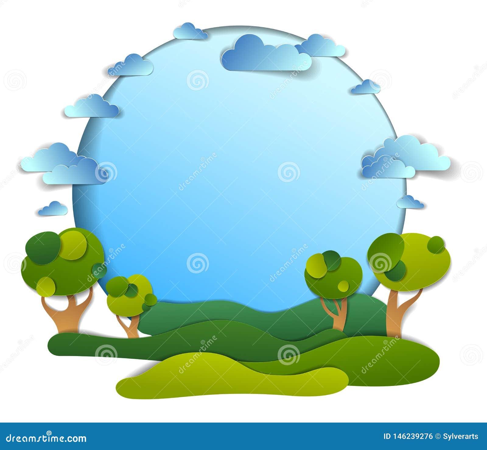 Campos verdes y paisaje escénico de los árboles del verano con las nubes en el cielo, fondo del marco con el espacio de la copia,